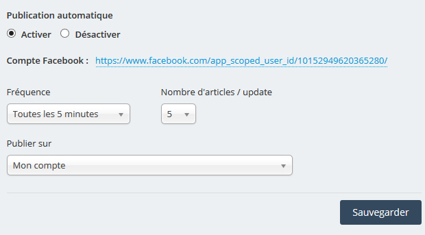 Automatic publication of articles on your Facebook pages