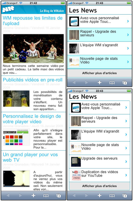 iPhone version: modules headlines and Latest News revisited