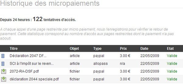 Micro payment: consult your history
