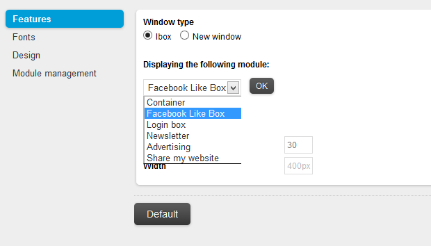 Open an ibox when launching your site